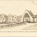 Eerste ontwerpschets van kapelletje. Uiteindelijk heeft men niet voor dit ontwerp gekozen. Omstreeks 1923.